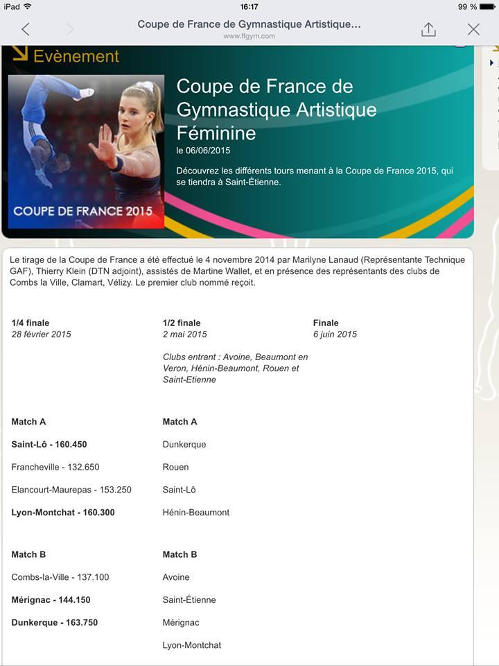Dunkerque gym officiel tirage de la demi finale de la - Tirage des 16eme de finale de la coupe de france ...